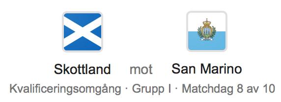 Speltips Skottland - San Marino